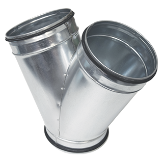 Braga a sezione circolare a 45° in acciaio zincato diametro 125 mm con guarnizione