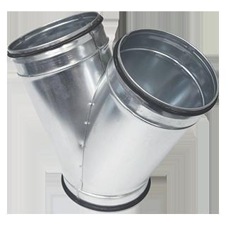 Braga a sezione circolare a 45° in acciaio zincato diametro 150 mm con guarnizione