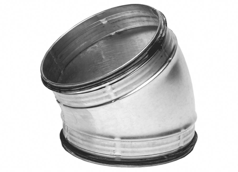Curva stampata a sezione circolare in acciaio zincato a 30° diametro 100 mm con guarnizione di tenuta