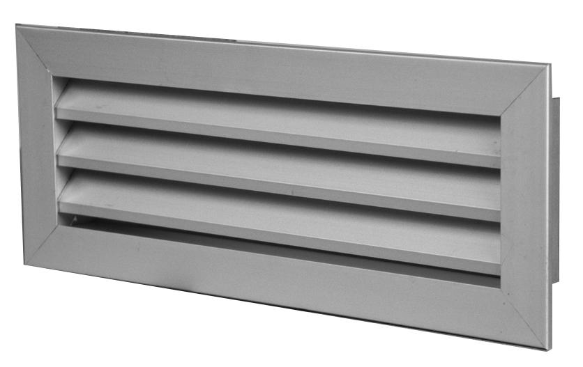 Griglia di ripresa in alluminio singolo filare passo 25 mm dimensioni 200x100 mm