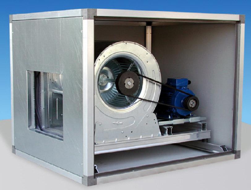 Ventilatore doppia aspirazione cassonato trasmissione cinghia e pulegge grandezza 10/10 motore 0,55 kw 380/3/50