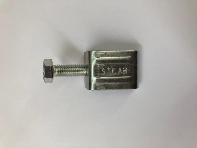 Morsetto stringiflangia in acciaio zincato completo di vite testa esagono per profilo a flangia da 20 e da 30