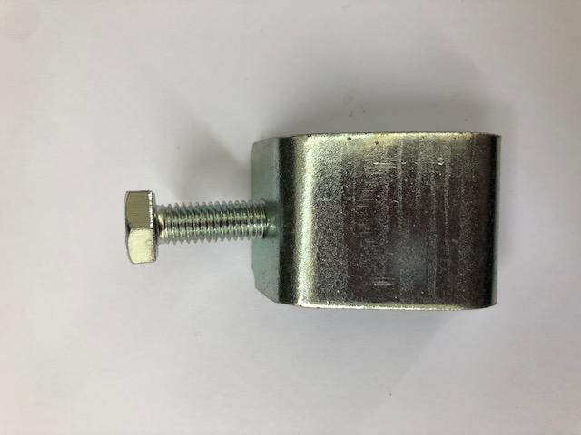 Morsetto stringiflangia in acciaio zincato completo di vite testa esagono per profilo a flangia da 40