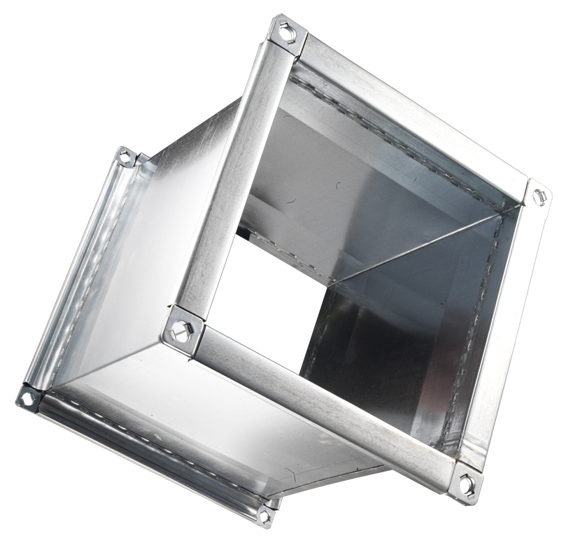 Canali e pezzi speciali in lamiera zincata a sezione quadrangolare in  classe di  tenuta