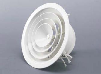 Diffusore circolare in alluminio Ral 9010 a coni fissi con serranda e molle per il fissaggio diametro 250 mm