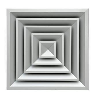 Diffusore quadrato in alluminio a 4 vie dimensione 150x150 mm