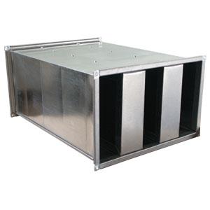 Silenziatore a setti da 100 mm dimensione 1000 x 1000 L 750 mm