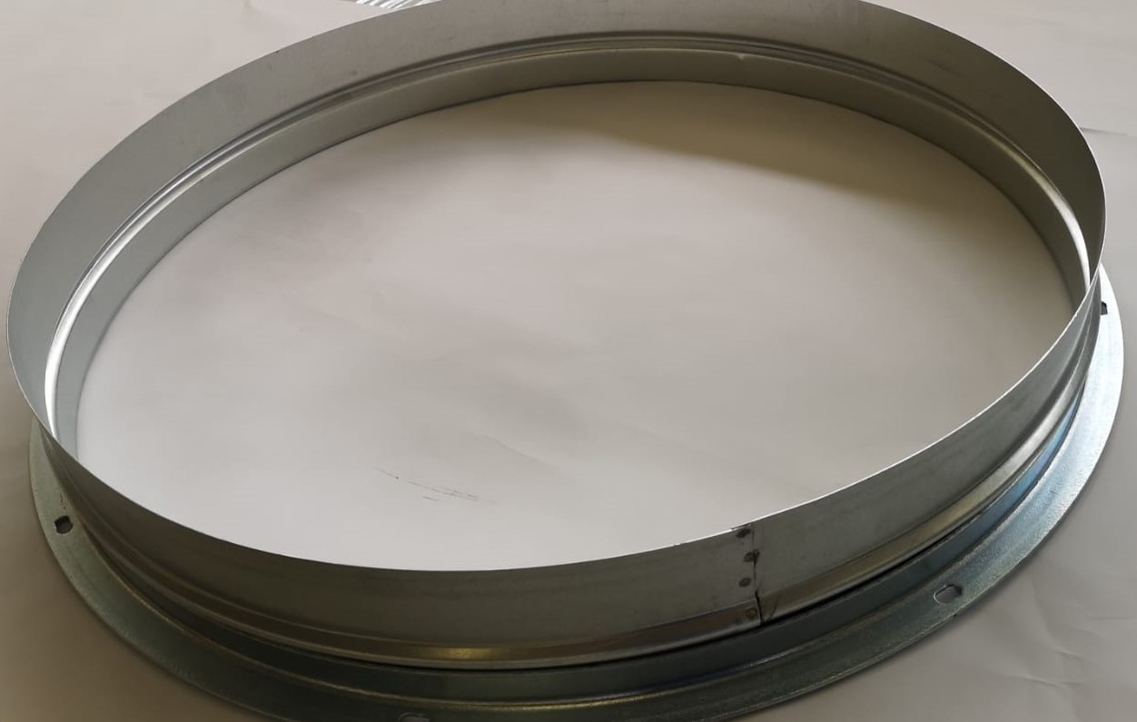 Collare porta flangia in acciaio zincato completo di flangia diametro 1100 mm