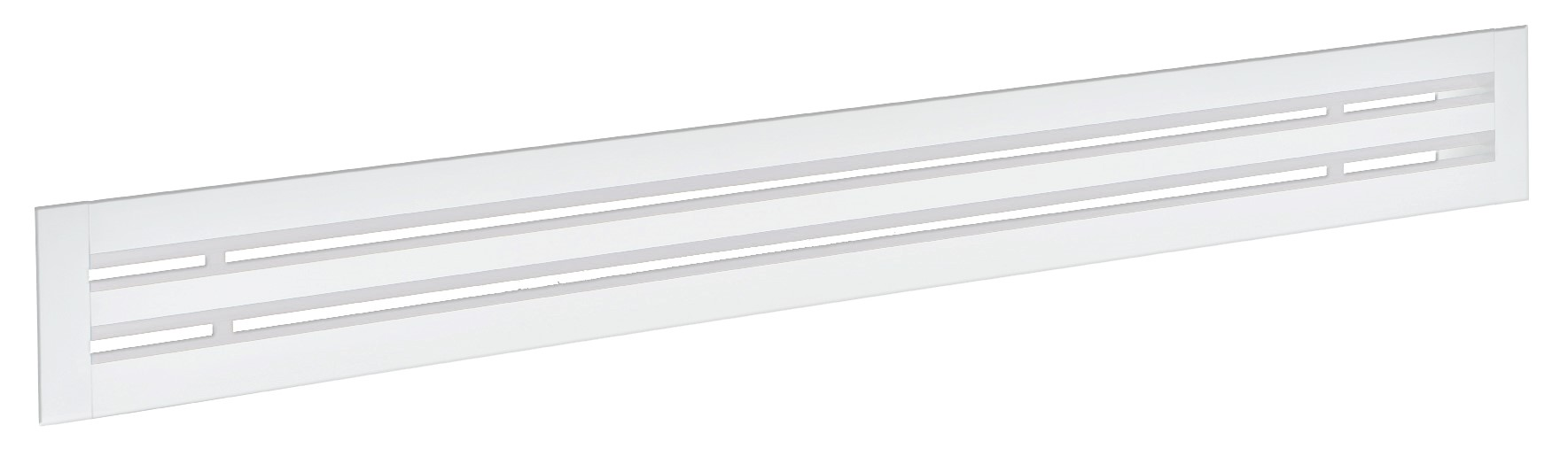 Diffusore lineare a feritoie Ral 9010 modello DLF20 deflettori Ral 9010 2 feritoie L=2000 mm