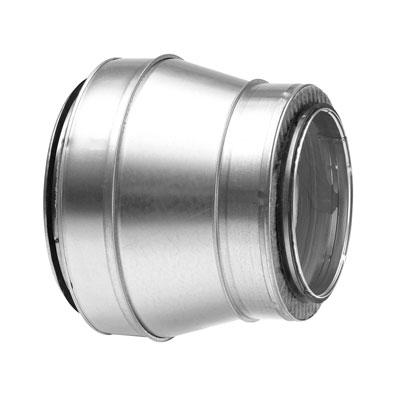 Riduzione preisolata in acciaio zincato spessore isolamento 25 mm diametro 100/80 mm