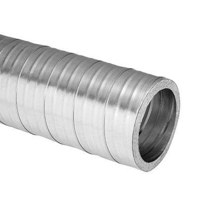 Tubazione spiroidale in acciaio zincato isolata spessore isolamento 25 mm diametro interno 100 mm