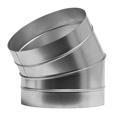 Curva a settori a sezione circolare in acciaio zincato a 30° diametro 1050 mm