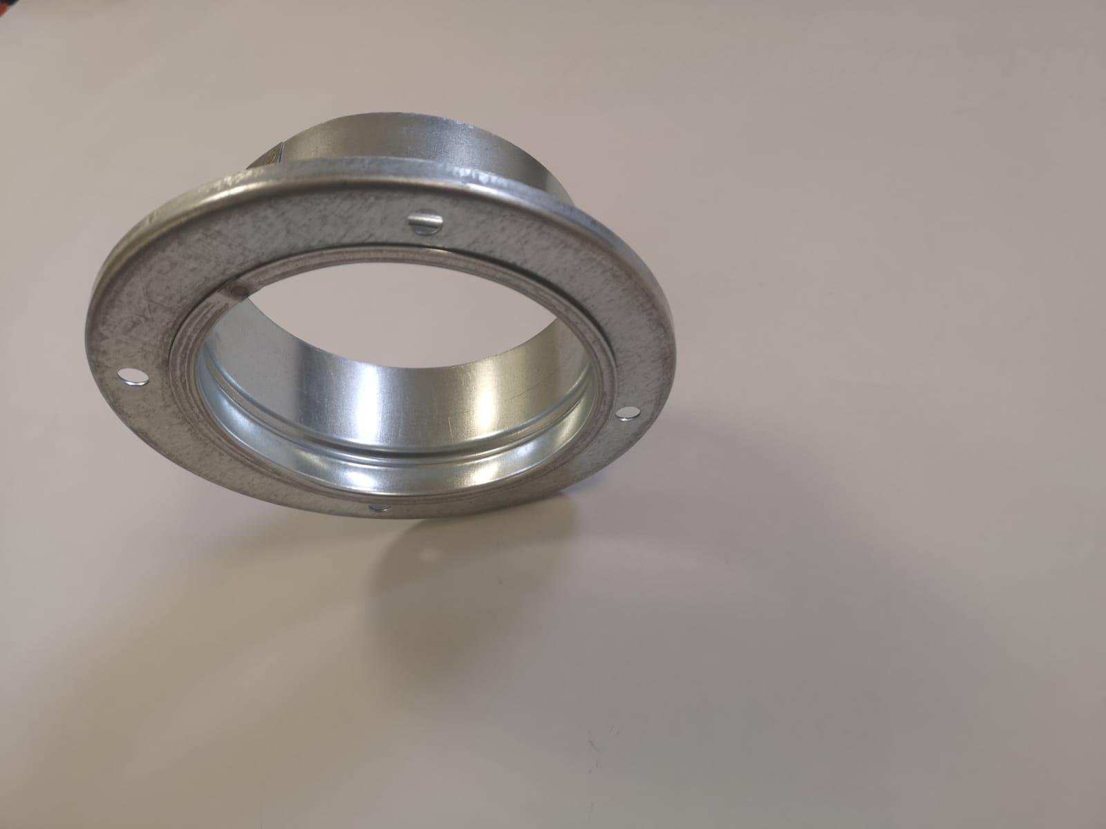 Collare porta flangia in acciaio zincato completo di flangia diametro 100 mm