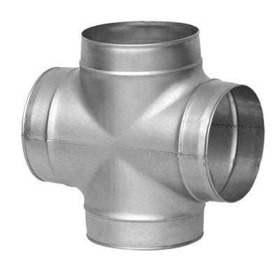 Doppio tee o croce in acciaio zincato a 90° diametro 80/80 mm
