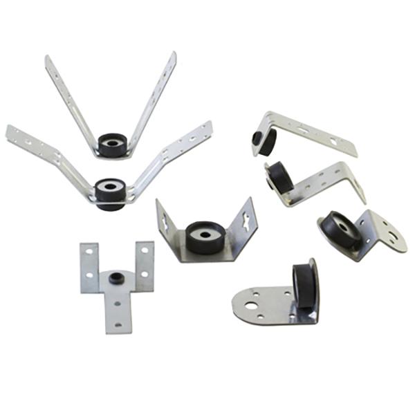 Staffa di sostegno in acciaio zincato spessore 2,0 mm tipo W per condotte a sezione quadrangolare